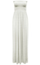 Ruched Bandeau Jersey Maxi Dress Cream by Oops Fashion