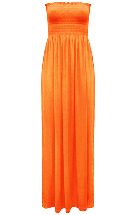 Ruched Bandeau Jersey Maxi Dress Neon Orange by Oops Fashion