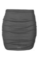 High Waist Ruched Mini Skirt in Charcoal by Oops Fashion
