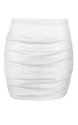 High Waist Ruched Mini Skirt in Cream by Oops Fashion