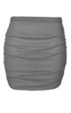 High Waist Ruched Mini Skirt in Grey by Oops Fashion