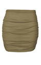 High Waist Ruched Mini Skirt in Khaki by Oops Fashion