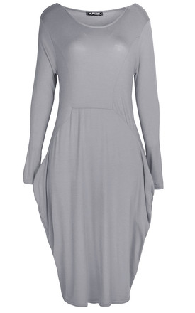Amber Long Sleeve Draped Midi Dress In Grey by Oops Fashion