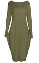 Amber Long Sleeve Draped Midi Dress In Khaki by Oops Fashion