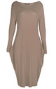 Amber Long Sleeve Draped Midi Dress In Mocha by Oops Fashion