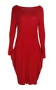 Amber Long Sleeve Draped Midi Dress In Red by Oops Fashion