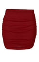 High Waist Ruched Mini Skirt in Wine by Oops Fashion