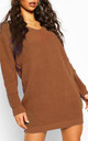 Beige Camel Chunky Knit Oversized Jumper with V Neck by Oops Fashion