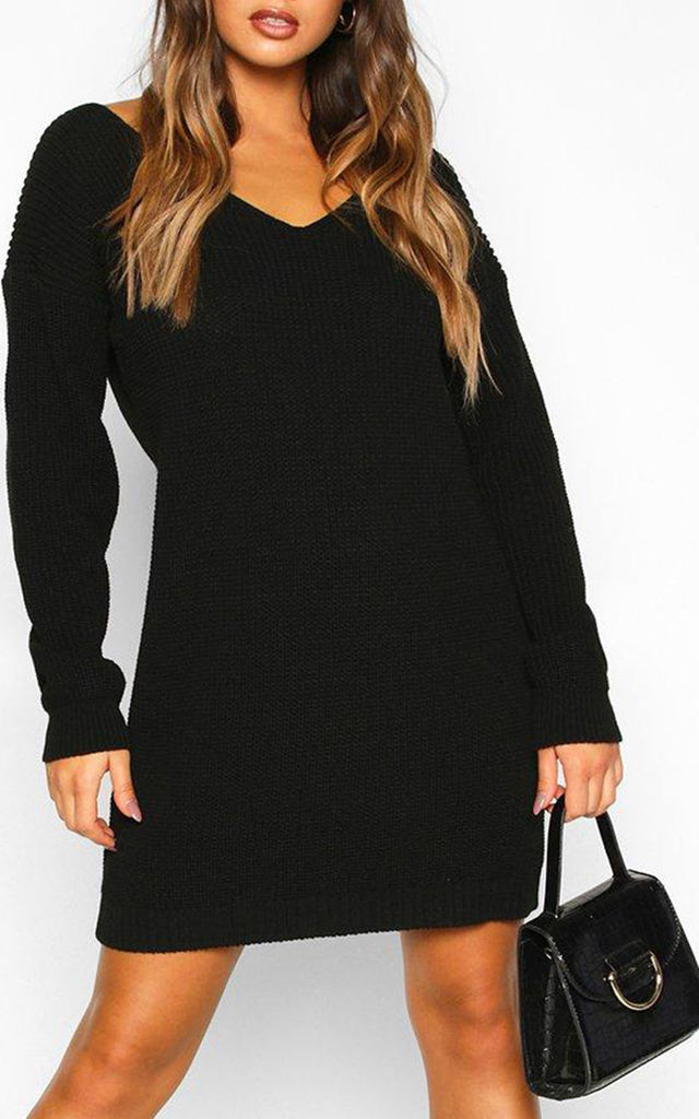 Black Chunky Knit Oversized Jumper with V Neck by Oops Fashion