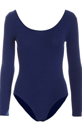 Long Sleeve Scoop Neck Basic Jersey Bodysuit Navy by Oops Fashion