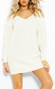Cream Chunky Knit Oversized Jumper with V Neck by Oops Fashion