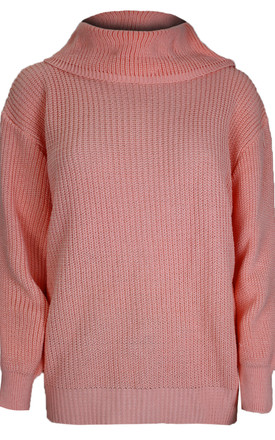 Emily Roll Neck Knitted Jumper In Peach by Oops Fashion