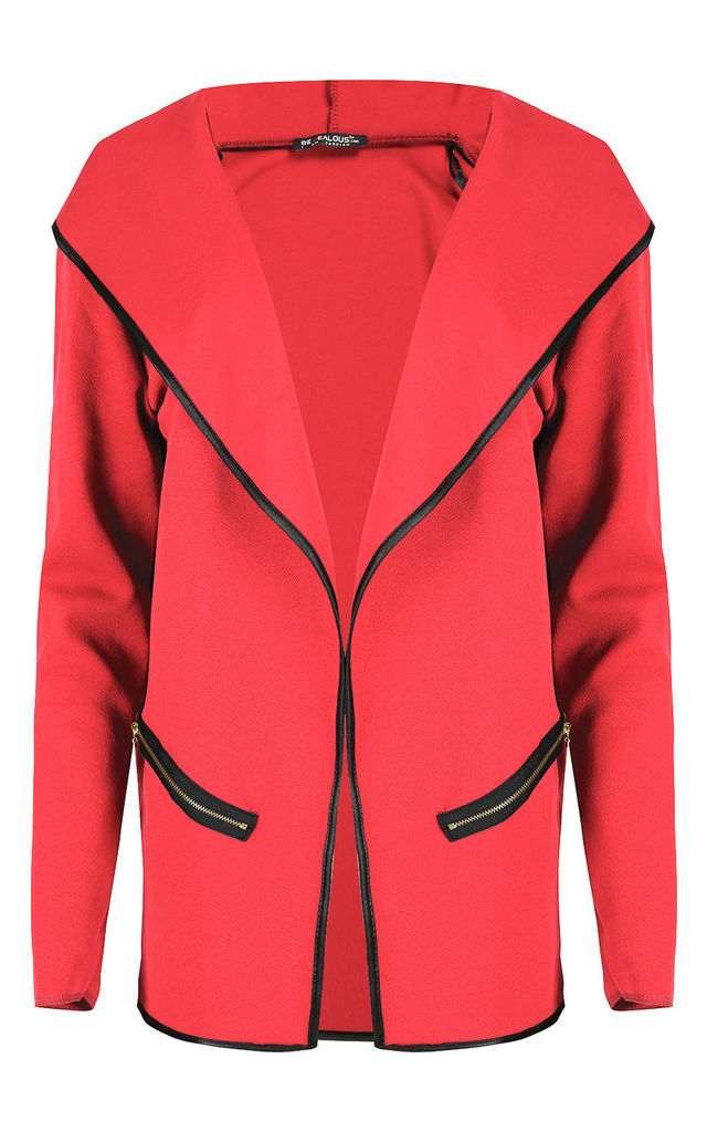 Sasha Jacket in Coral with Contrast Piping by Oops Fashion