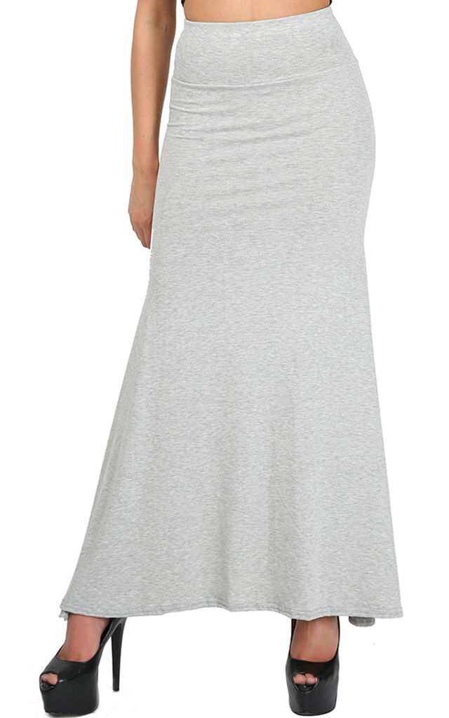 Paris High Waisted Floaty Maxi Skirt In Grey by Oops Fashion