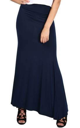 Paris High Waisted Floaty Maxi Skirt In Navy by Oops Fashion