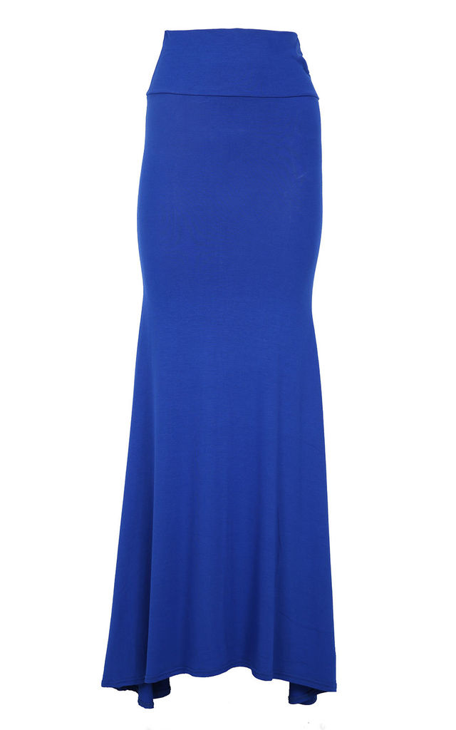 Paris High Waisted Floaty Maxi Skirt In Royal Blue by Oops Fashion