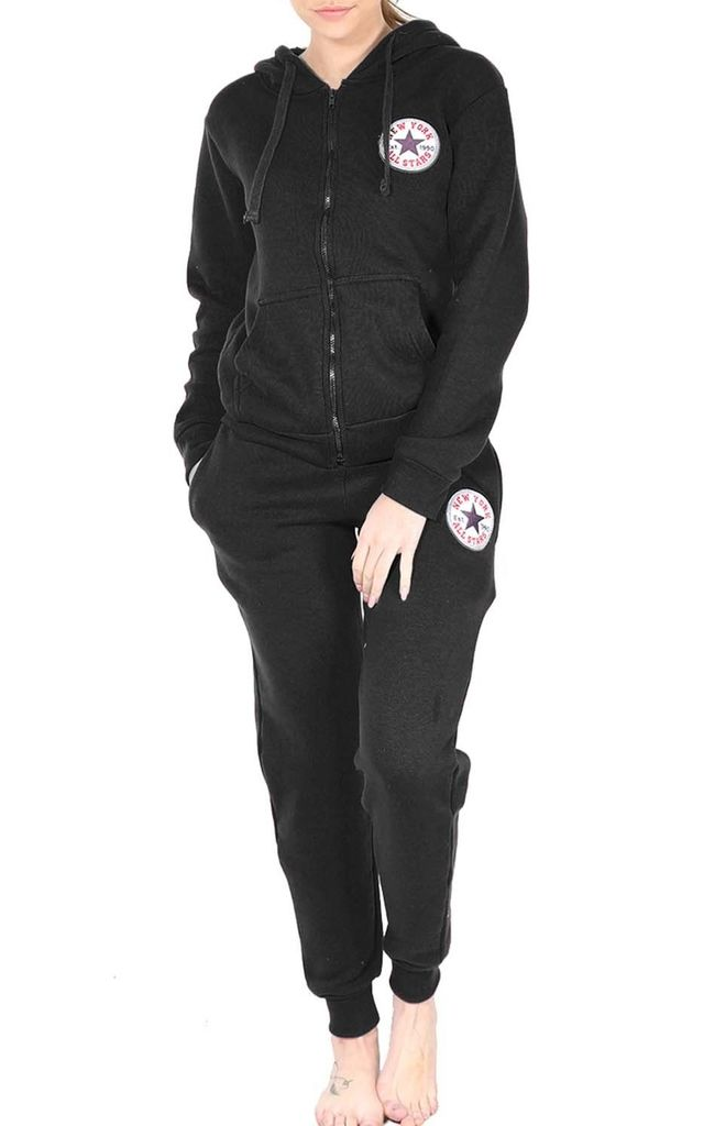Paris All Star Loungewear Tracksuit In Black by Oops Fashion