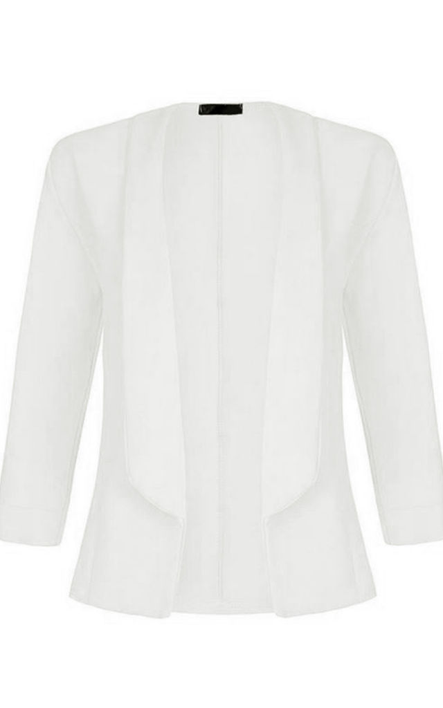 Eli Cropped Sleeve Collar Blazer In Cream by Oops Fashion