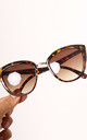 Doja Retro Oversized Cateye Sunglasses with Metal Trim in Brown Tortoise Shell by One Nation Clothing