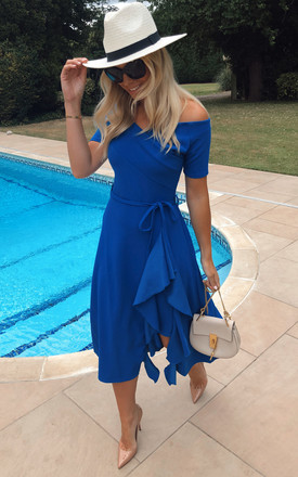 Exclusive Bardot Frill Midi Dress In Royal Blue by Feverfish Product photo