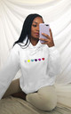 Oversized Hoodie in White with Rainbow Glitter Hearts by Lime Blonde