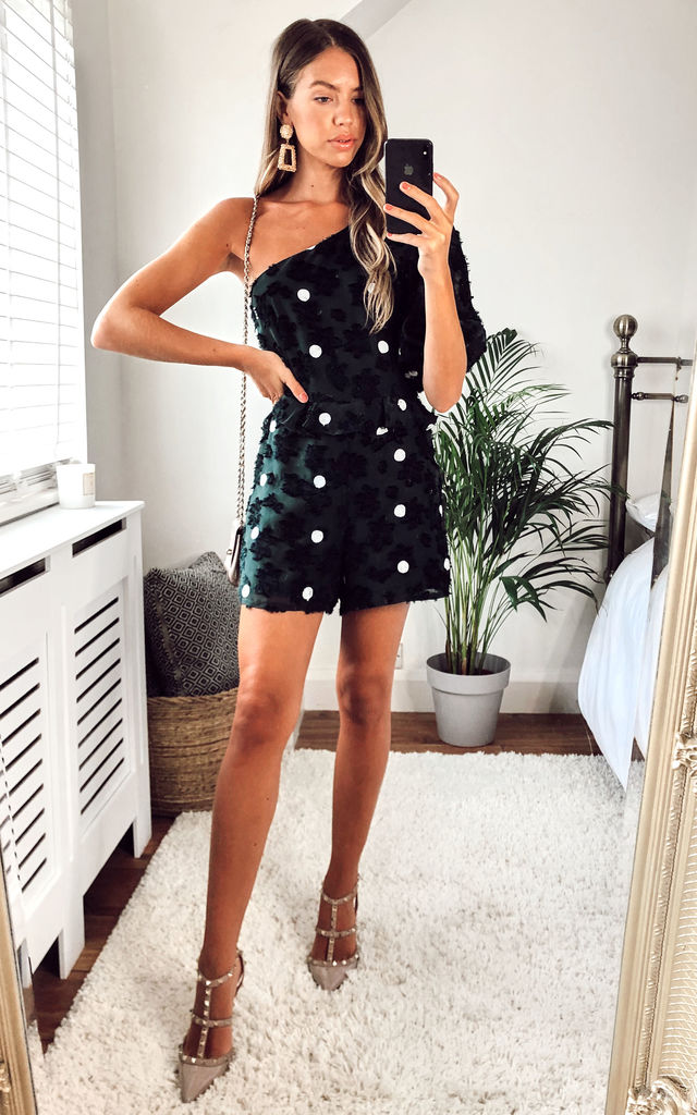 Polkadot One Shoulder Playsuit in Forest Green by LIENA