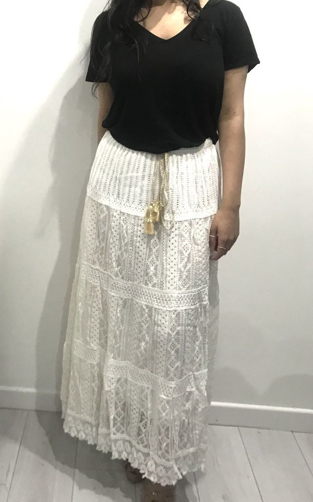 Long White Lace Skirt With Gold Tassel by Tilly Tizarro