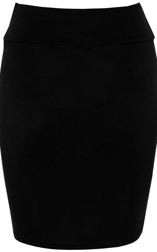 High Waisted Jersey Mini Skirt in Black by Oops Fashion