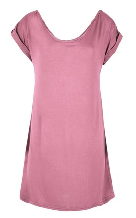 Rose Off Shoulder Oversized T-shirt Dress by Oops Fashion