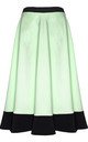 Apple Green High Waist Scuba Paneled Skater Skirt by Oops Fashion