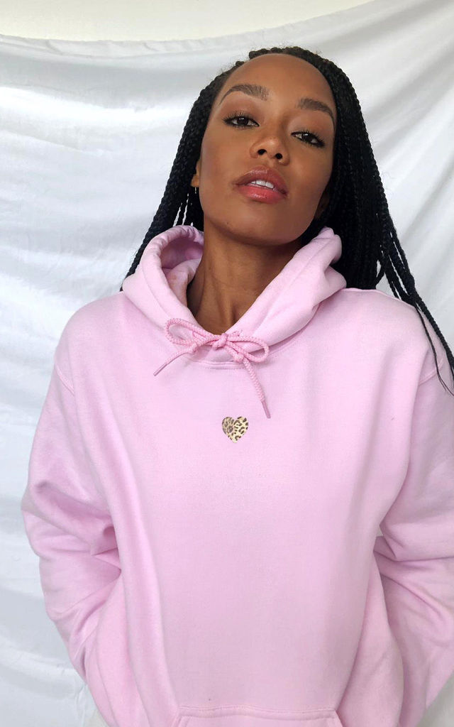 Oversized Hoodie in Pastel Pink with Leopard Print Heart by Lime Blonde