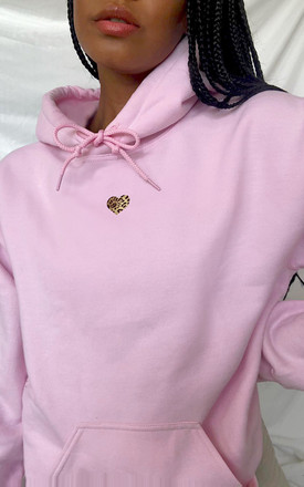 Oversized Hoodie in Pastel Pink with Leopard Print Heart by LimeBlonde