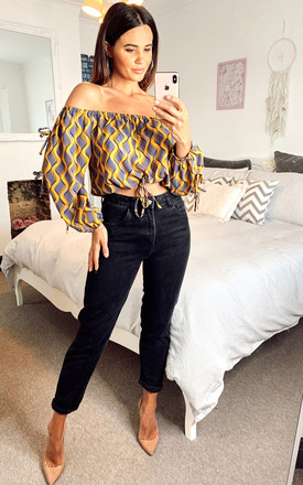 Off Shoulder Tie Waist Crop Top Yellow/Blue by Shikha London