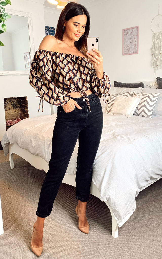 Off Shoulder Tie Waist Crop Top Blue/Brown by Shikha London