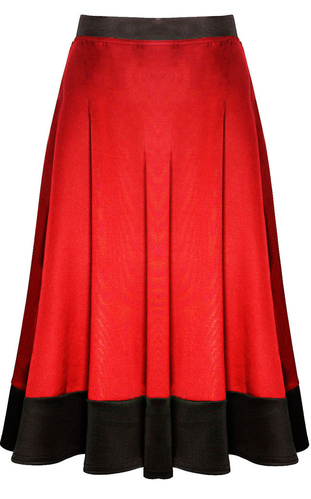 Red High Waist Scuba Paneled Skater Skirt by Oops Fashion