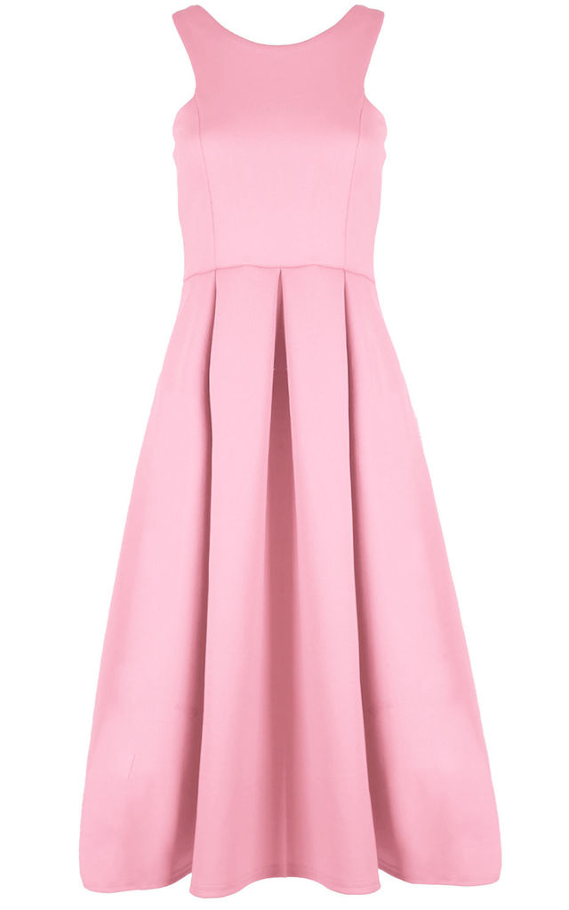 Malia Sleeveless Flared Midi Dress in Baby Pink by Oops Fashion