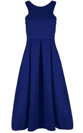 Malia Sleeveless Flared Midi Dress in Navy by Oops Fashion