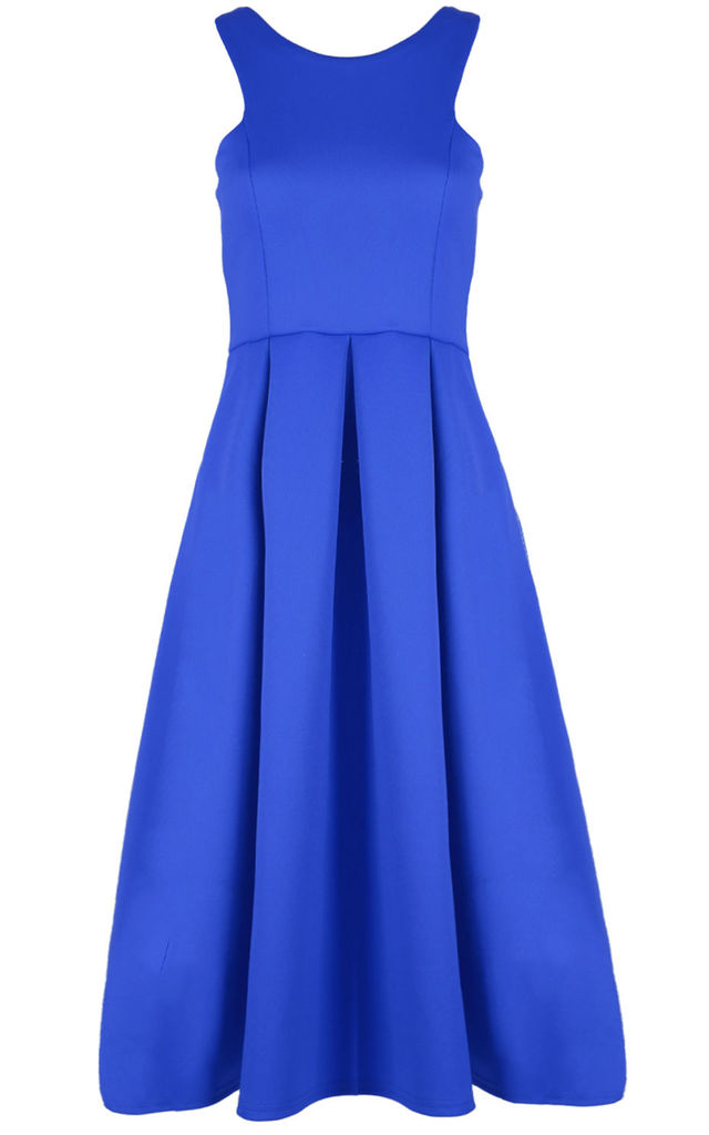 Malia Sleeveless Flared Midi Dress in Royal Blue by Oops Fashion