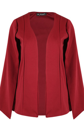 Cape Sleeve Scuba Blazer in Wine by Oops Fashion