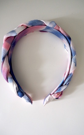 Tie Dye Silk Plaited Headband in Pink & Purple by Nancy and Nora