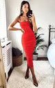 Ruched Mesh Bodycon Midi Dress In Red by Miss Floral