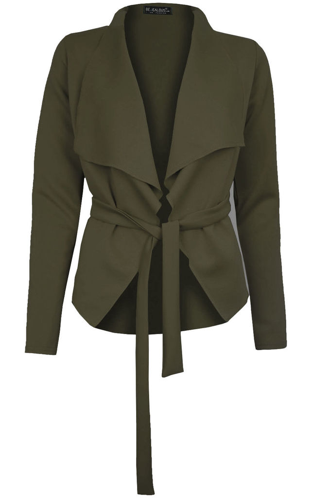 Daryl Waterfall Cropped Jacket In Khaki by Oops Fashion