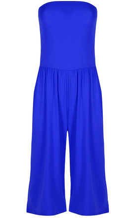 Mya Strapless Cropped Jersey Jumpsuit In Royal Blue by Oops Fashion