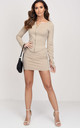Ribbed Zip Front Cardigan Top Mini Skirt Co ord Set Beige by LILY LULU FASHION