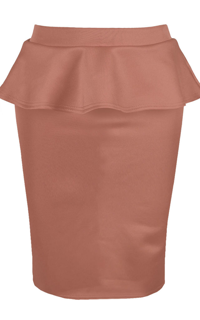 High Waisted Peplum Skirt in Mocha by Oops Fashion