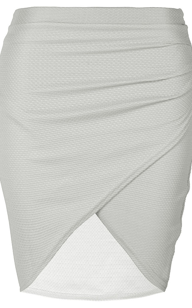High Waisted Ribbed Mini Wrap Skirt Cream by Oops Fashion