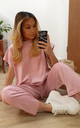Baby Pink Round Neck Loungewear Tracksuit Co ord | Top & Joggers by GIGILAND