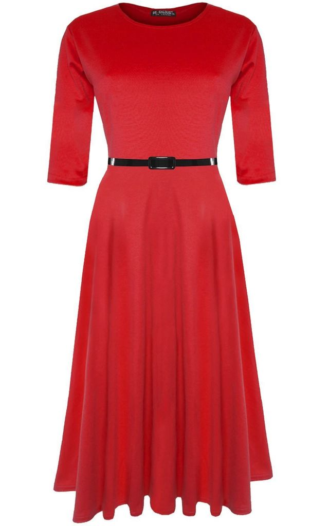 3/4 Sleeve Midi Skater Dress In Red by Oops Fashion