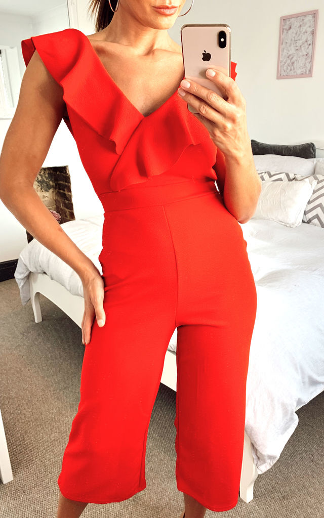 Red Ruffle Culotte Jumpsuit by Mela London