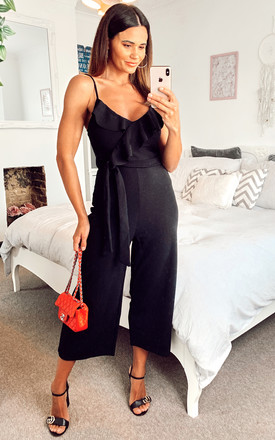 Black Ruffle Top Culotte Jumpsuit by Mela London